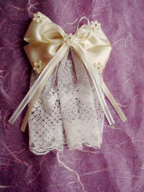 Bridal Flower girl Bow Lace Ivory Hair Barrettes HR104