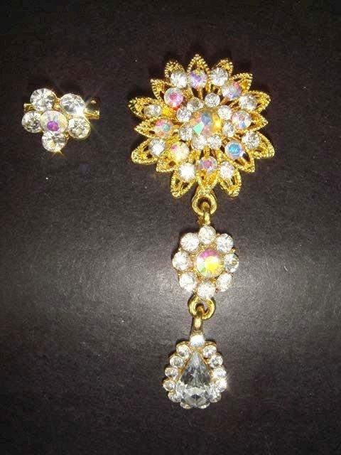 2 pcs Bridal Faux Pearl Rhinestone Brooch pin Pi151