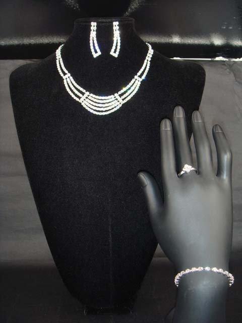 Bridal 5 row rhinestone bracelet necklace earring NR213