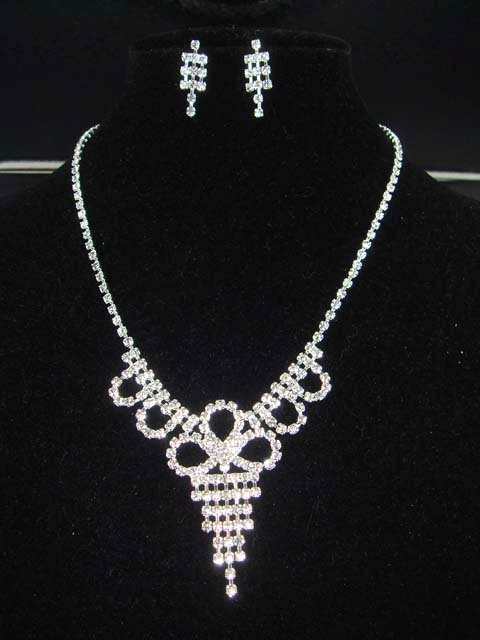Bridal rhinestone Cocktail necklace earring set NR103
