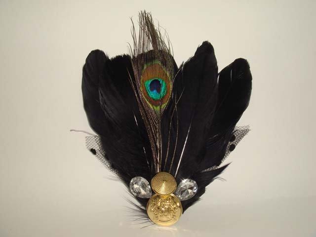 Bridal Peacock Feather Rhinestone Hair Brooch pin PI395