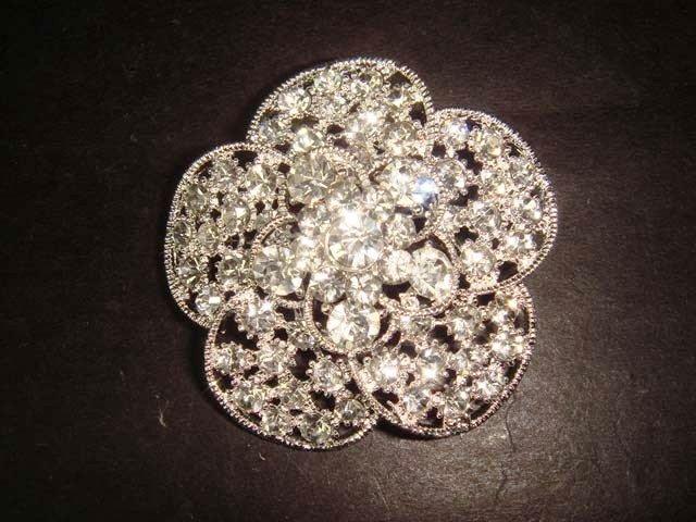 Flower Bridal Vintage style Rhinestone Brooch pin PI322