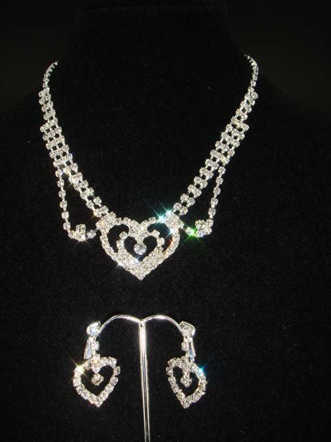 Bridal Rhinestone Heart Earring necklace gift Set NR159