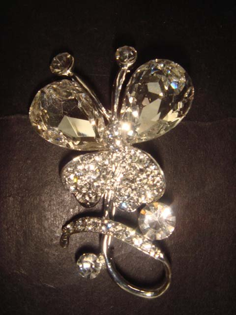 Bridal Butterfly Crystal Rhinestone Brooch pin PI373