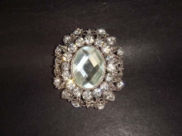 Bridal ellipse Oval Rhinestone Brooch pin PI244