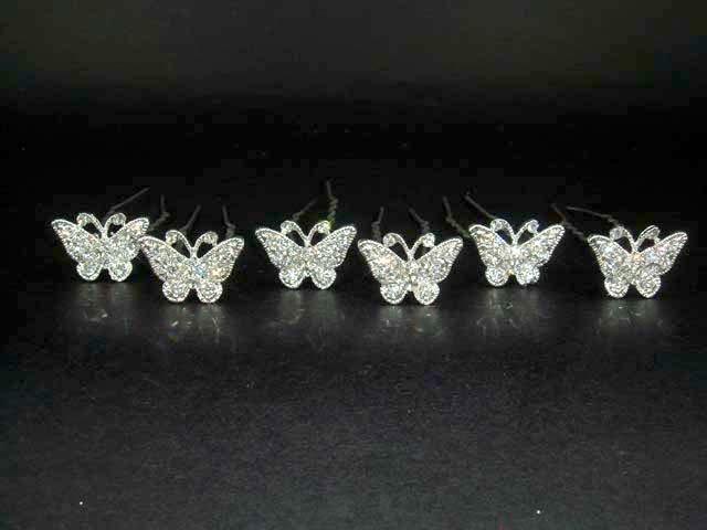 6 Bridal Butterfly rhinestone Hairpin hair pin BH185