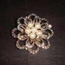 Bridal Crystal Faux Pearl Rhinestone Brooch pin PI349B