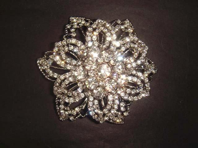 Bridal flower Vintage style Rhinestone Brooch pin PI255
