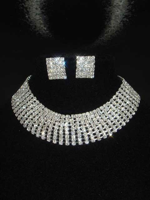 8 row Bridal Rhinestone necklace earring Set NR207