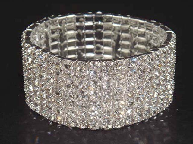 7 row Bridal Wedding Rhinestone Bracelet BR15 UPS