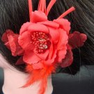 Bridal Wedding Feather Red silk flower pin clip BA75