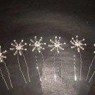 6 Bridal crystal veil flower Rhinestone Hair pin RP152