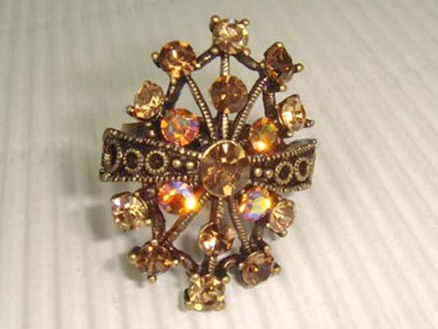Brown Bridal Vintage style Rhinestone Cocktail Ring R05