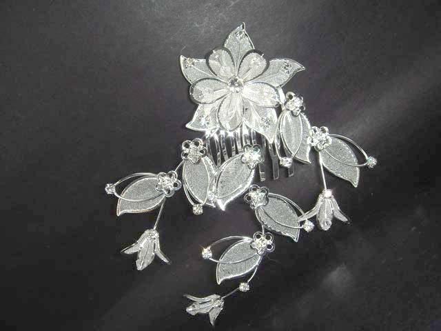 Bridal Crystal Rhinestone Flower Hair tiara Comb RB55