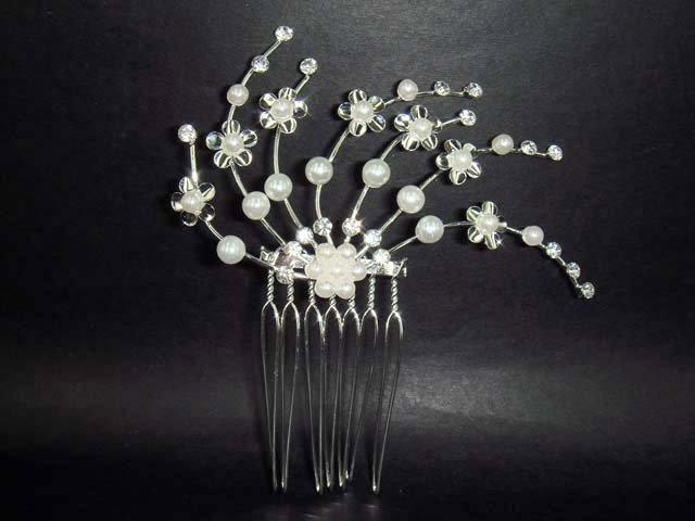 Bridal Faux Pearl Rhinestone Hair tiara Comb RB10