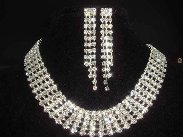5 row Bridal AB Rhinestone necklace earring NR188