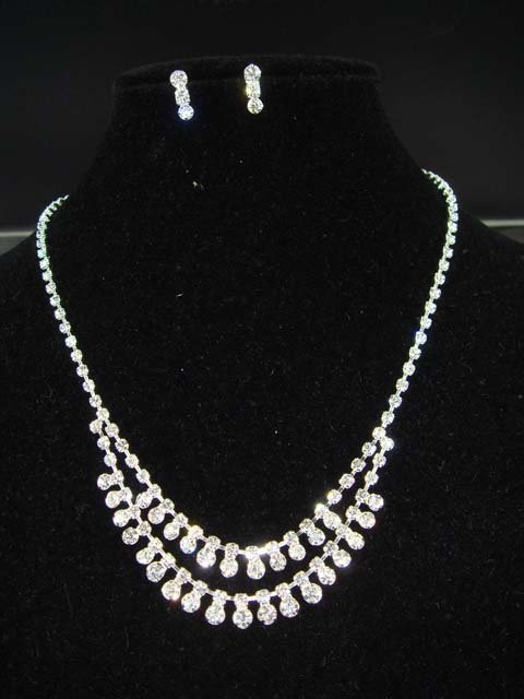 Bridal Crystal Rhinestone necklace Earring set NR24