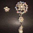 2 pcs Bridal Faux Pearl Rhinestone Brooch pin Pi155