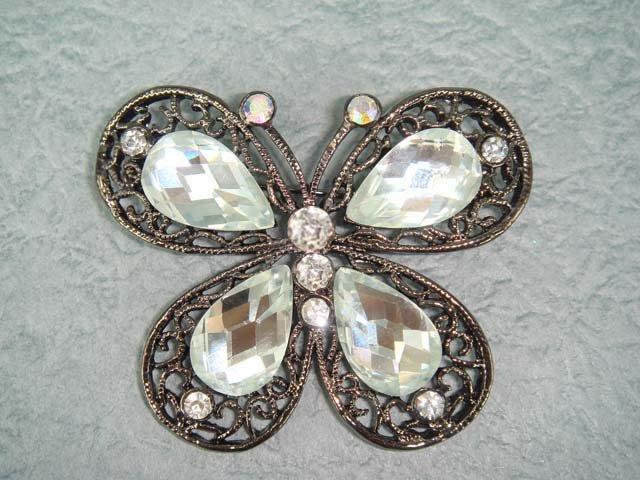 Bridal Butterfly Crystal Rhinestone Brooch pin PI138
