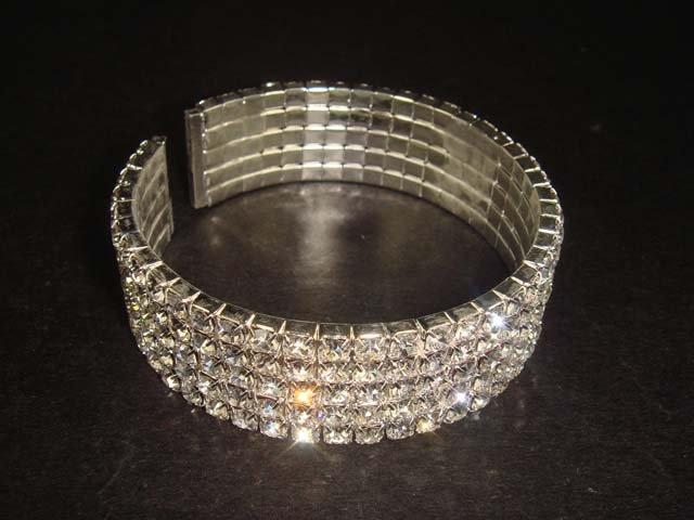 Bridal 5 row Rhinestone crystal Cuff Bracelet BR189