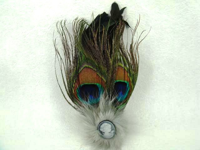 Bridal Feather cameo Hair peacock pin clip brooch BA107