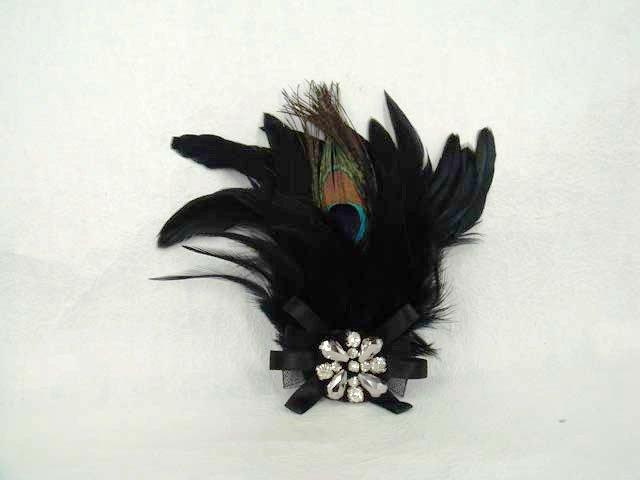 Bridal Peacock Feather Rhinestone Brooch pin PI390