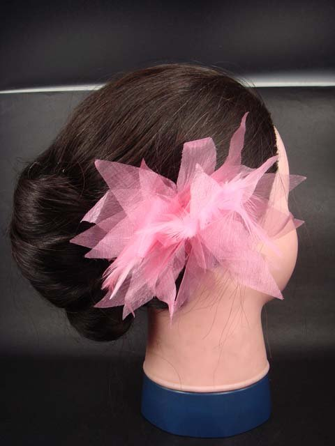 Bridal feather silk flower Fascinator clip pin BA67