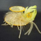 Wedding lace bead Feather Gold mini hat Fascinator H09