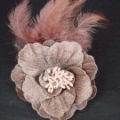 Wedding Flower Feather Brown Clip Pin Fascinator BA73