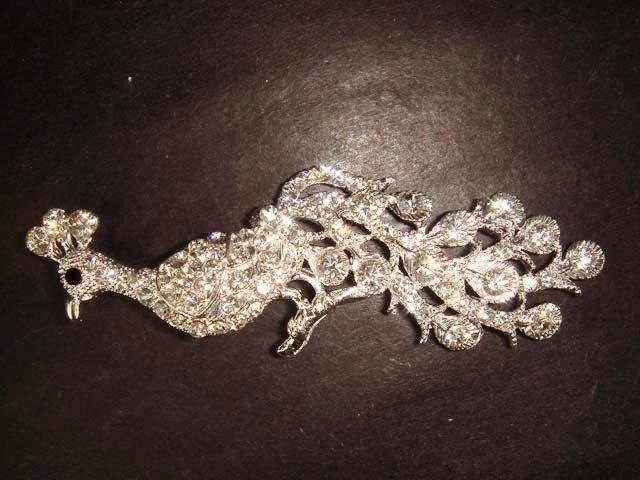 Bridal Peacock Crystal Rhinestone Brooch pin Pi328
