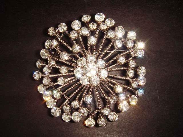 Bridal Crystal Bling round Rhinestone Brooch pin Pi209