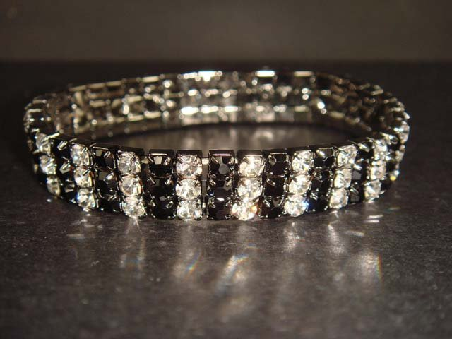 3 row Bridal Crystal Rhinestone Bangle Bracelet BR134