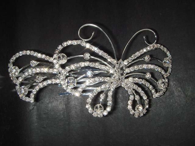 Bridal Rhinestone Butterfly Hair Tiara Comb RB370
