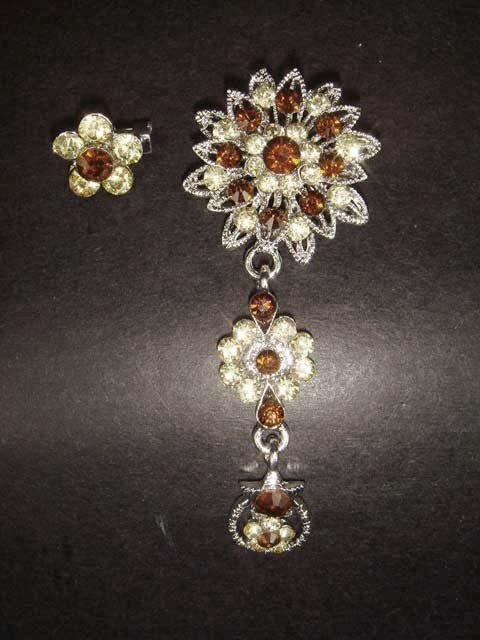 2 pc Bridal Crystal vintage Rhinestone Brooch pin Pi154