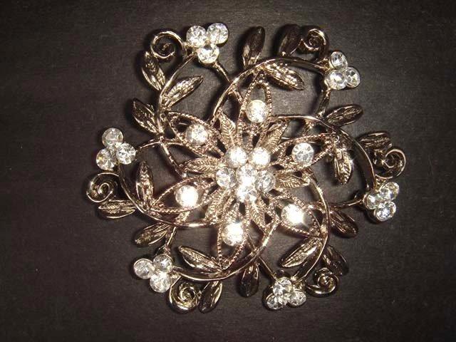 Bridal Rhinestone Crystal silver tone Brooch pin Pi197