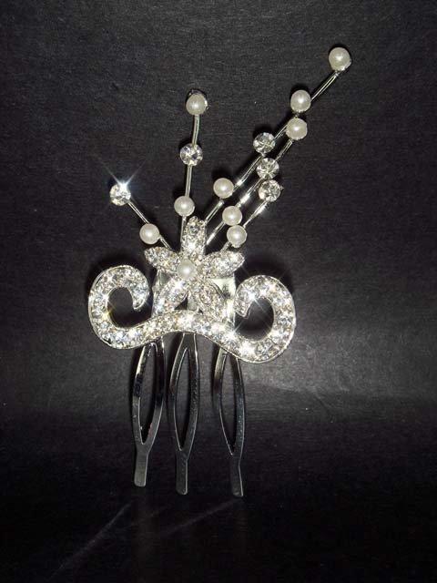 Bridal Rhinestone Faux Pearl Hair Tiara comb RB14