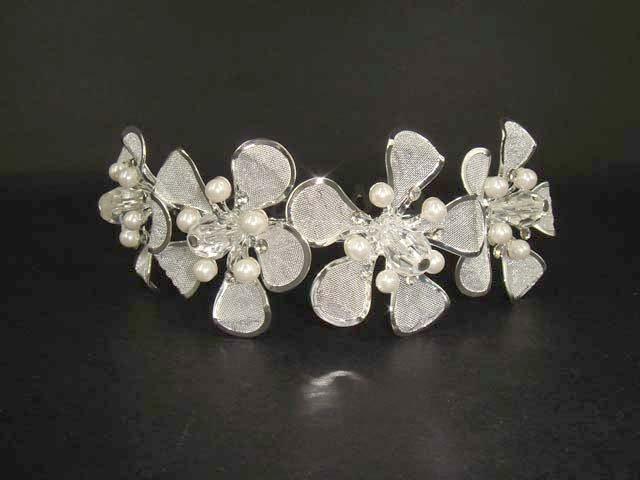 Bridal flower Faux Pearl tiara rhinestone comb RB43