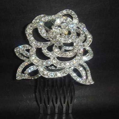 Bridal Flower Rose rhinestone hair tiara comb RB443