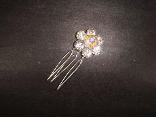 5 pcs Bridal Rhinestone Flower Crystal Hair comb RB234