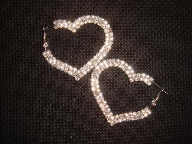 2 row Bridal Heart Rhinestone Crystal Earring ER172