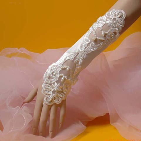 "12"" Bridal prom sexy Lace Satin Fingerless Gloves S03"