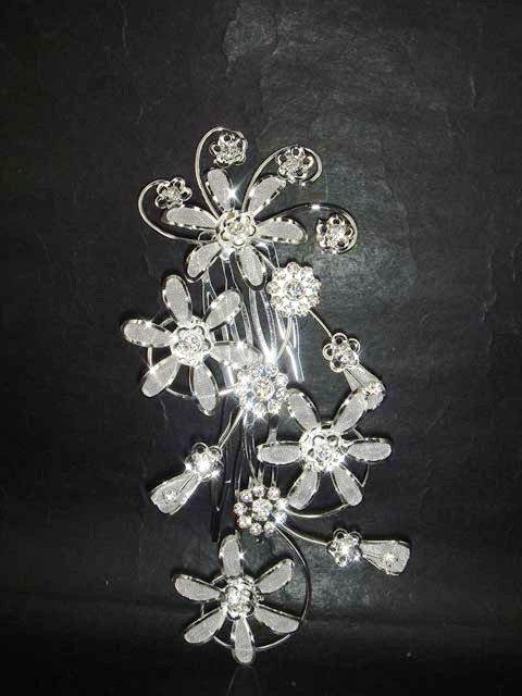 Bridal Crystal Rhinestone Flower Hair tiara Comb RB448
