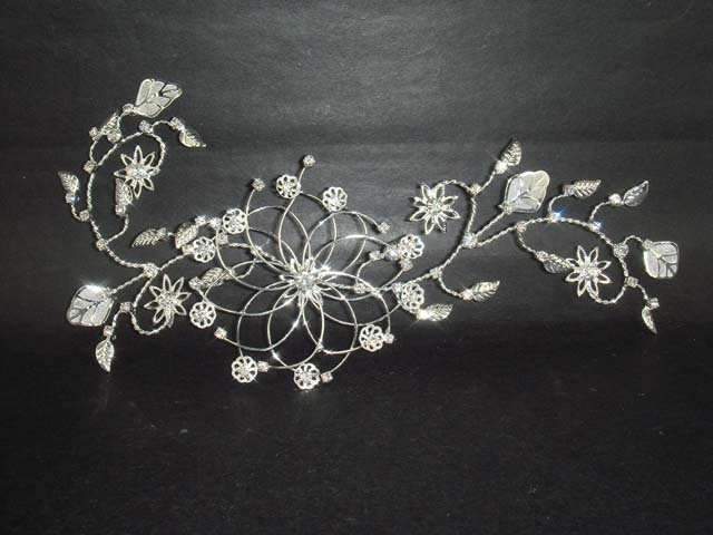 Bridal Rhinestone Flower leaf Crystal Hair tiara RB272