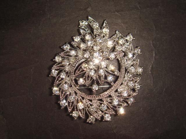 Bridal wreath crystal Bling Rhinestone Brooch pin Pi401