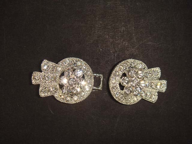 Vintage style Rhinestone clasp dress buckle button BU52