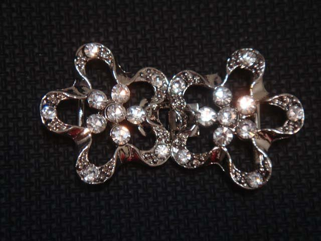 Bridal flower Rhinestone clasp hook buckle button BU38