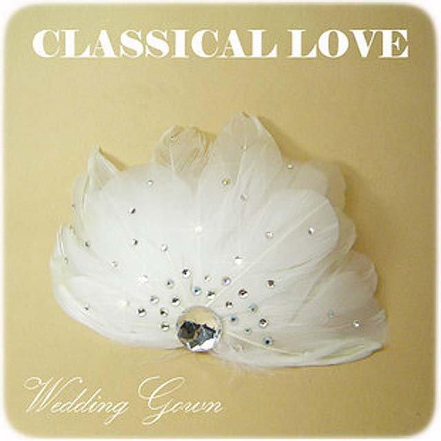 Bridal Feather white tiara rhinestone hair clip BA135