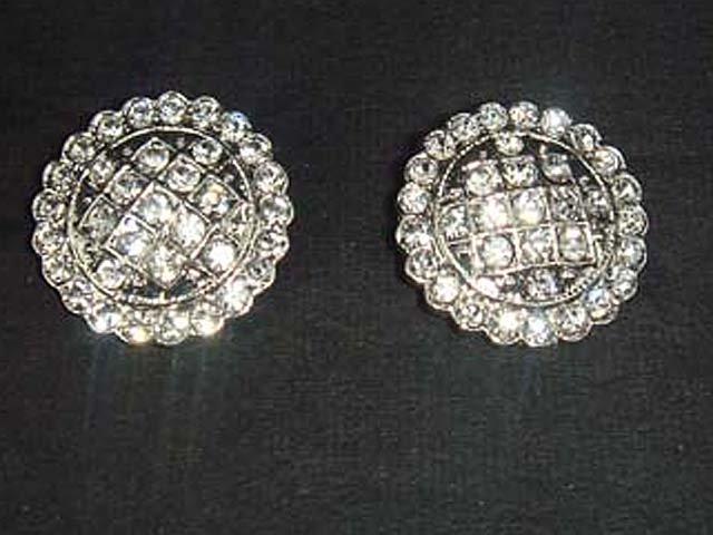 2 Flower Crystal Sew Rhinestone clasp hook button BN12