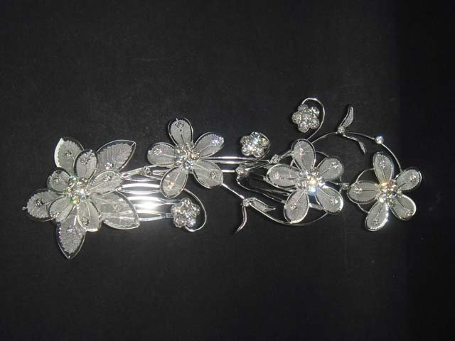 Bridal Rhinestone Flower Crystal Hair tiara Comb RB118A