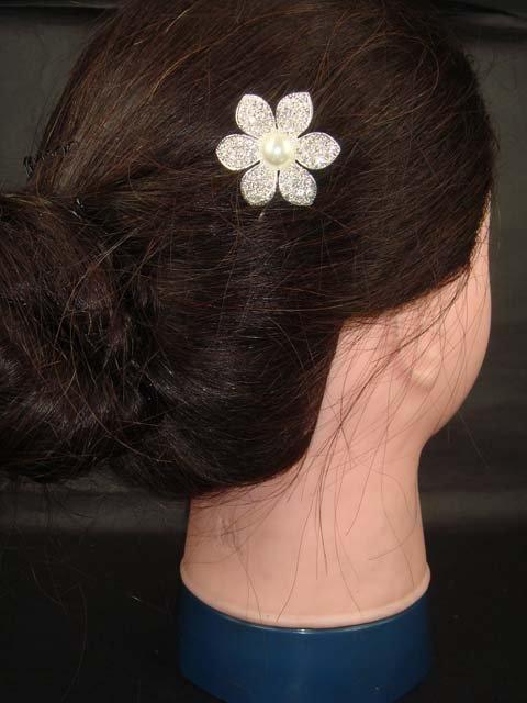 Bridal Rhinestone Faux Pearl Flower Hairpin tiara RP151
